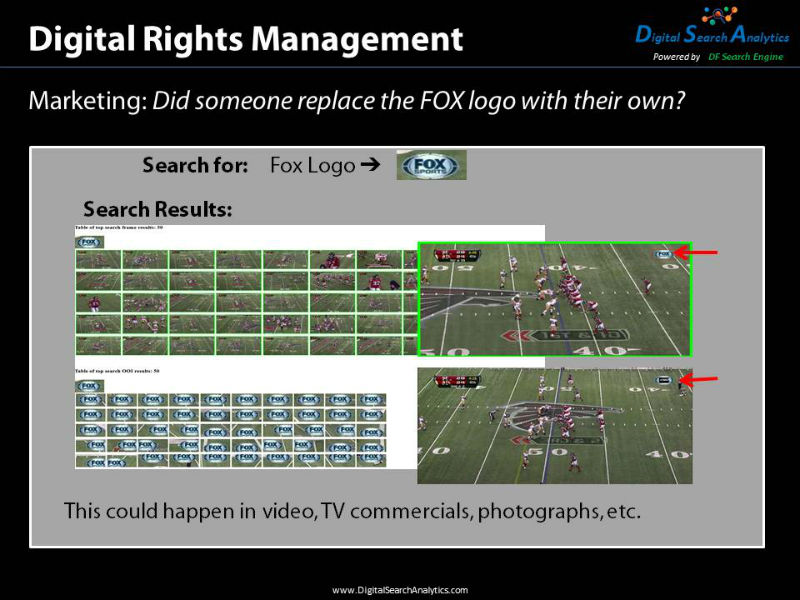Digital Rights Management allows the user to know when their ad was shown. In this example the original ad logo was replaced with a different ad logo in part of the video. We can tell exactly when this occurred and how often.