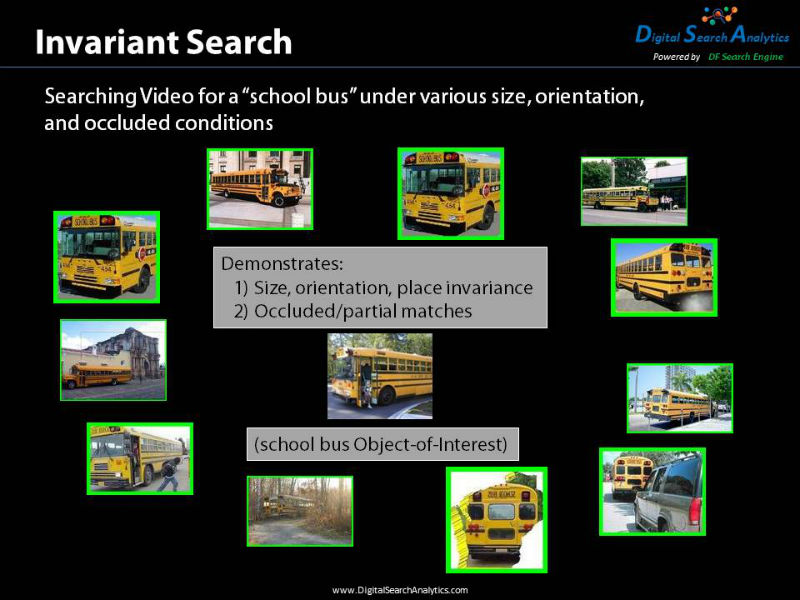 Invariant Search allows the user to search for objects that are size, orientation, and place invariant. It will find objects that are occluded or only partially visible. In this example we can find the school bus at different angles, in different locations, when it is near and far away, and when part of the school bus is hidden from view.